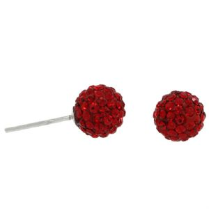 Red Crystal Round Ball 0.8mm Stud Earrings